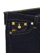 True Religion Jeans Billy Gold Sequin Bling Flap Pocket Dark Wash Womens 28 - Preowned - FunkyCrap Boutique