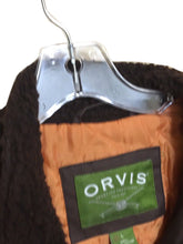 Orvis Winter Bomber Jacket Zip Flap Pockets Orange Lining Fuzzy Collar Mens L - FunkyCrap Boutique