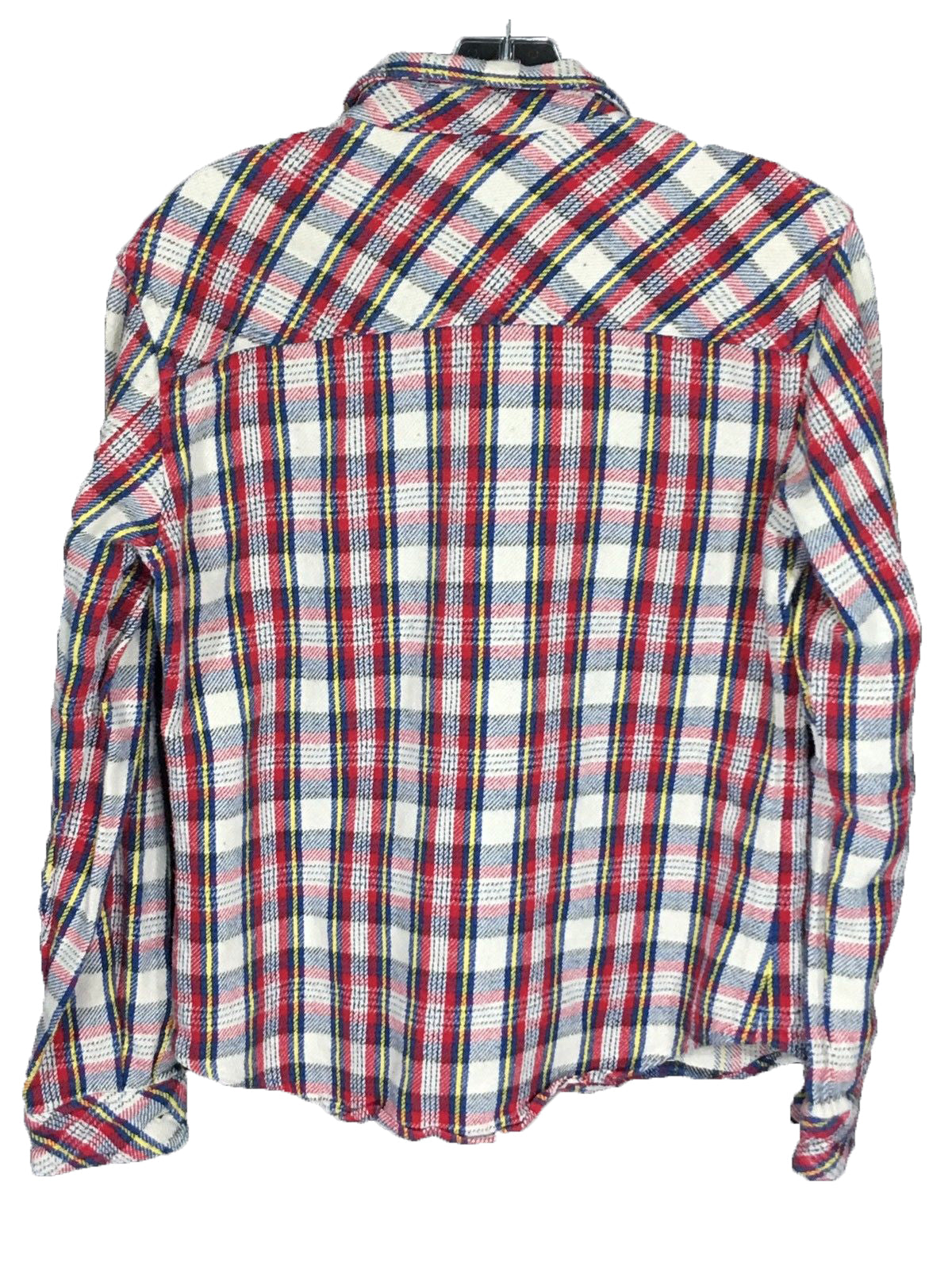 2a4eb140ea57 ... Salt Valley Plaid Flannel Button Down Shirt Red Yellow Blue Pockets  Mens Small S - FunkyCrap ...