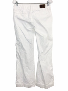 Level 99 Anthropologie White Cotton Pants Khaki Wide Leg Flare Cuffed Womens 27 - Preowned - FunkyCrap Boutique