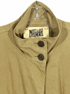 Millard Fillmore Long Jacket Brown Pleather Pockets Womens Large - Preowned - FunkyCrap Boutique