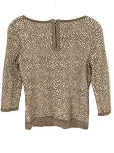 Moth Anthropologie Leopard Print Sweater Shirt Back Zip Soft Textured Womens XS - Preowned - FunkyCrap Boutique