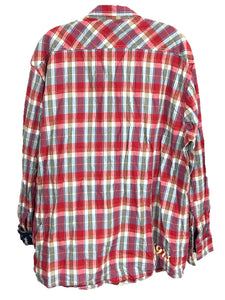 Disney Parks 71 Red Plaid Western Button Down Shirt Mickey Contrast Flip Cuff Mens XL-Preowned - FunkyCrap Boutique