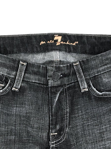 7 Seven For All Mankind Jeans Light Pink A Pocket Black Distressed Boot Cut Womens 28- Preowned - FunkyCrap Boutique
