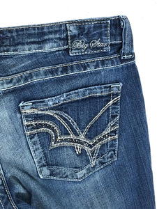 Big Star Jeans Casey Low Rise Boot Cut Pocket Bling Studs Womens 31 Actual 33x31 - Preowned - FunkyCrap Boutique