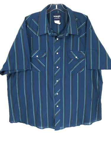Wrangler Western Shirts Vintage Pearl Snap 2 Pocket Blue Striped Mens 2XL - Preowned
