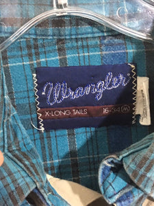 Wrangler USA X-Long Tails Vintage Western Plaid Khaki Button Shirt Mens M 16-34 - Preowned - FunkyCrap Boutique