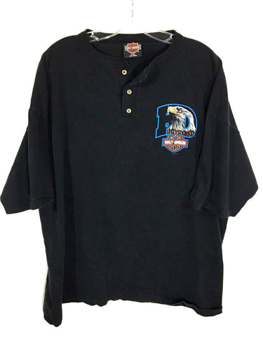 Harley Davidson 1995 Eagle Benjy's Huntington WV Stratman USA Button Collar Black Shirt Mens 2XL XXL - Preowned - FunkyCrap Boutique