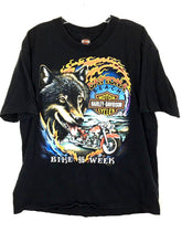 Harley Davidson Daytona Beach Bike Week 1996 Bald Eagle Wolf Black Shirt Mens XL - Preowned - FunkyCrap Boutique