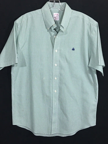 Brooks Brothers Plaid Checks Blue Green Button Shirt Non-Iron Traditional Fit Sewn Logo Mens M - Preowned - FunkyCrap Boutique