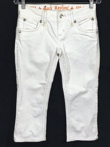 Rock Revival Jeans Scarlett Capri Thick Stitch White Wash Womens 27 - Preowned