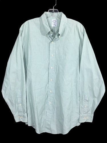 Brooks Brothers Slim Fit Green White Skinny Striped Button Down Shirt Mens 16.5 - Preowned - FunkyCrap Boutique