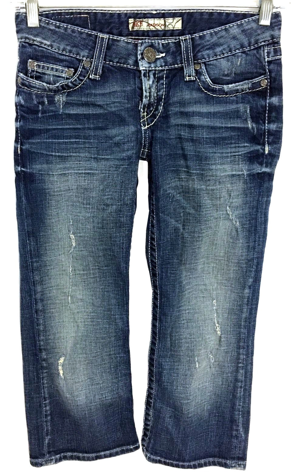 BKE Buckle Madison Capri Cotton Stretch Distressed Jeans Women 25 Actual 25 x 22.5 - Preowned - FunkyCrap Boutique