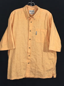Columbia Yellow Orange Fish Pattern Button Down Pocket Short Sleeve Hawaiian Shirt Mens Large L - Preowned - FunkyCrap Boutique