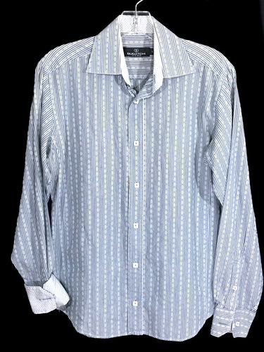 Bugatchi Uomo Blue Striped Floral Contrast Flip Cuff Button Shirt Mens Small S - Preowned - FunkyCrap Boutique