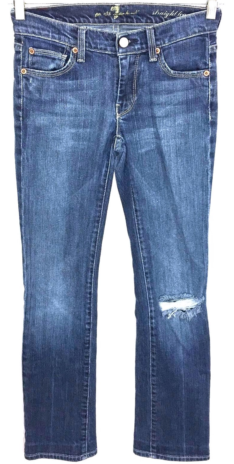 7 For All Mankind Jeans Low Rise Straight Leg Medium Wash Womens 24 Actual 26x29 - Preowned - FunkyCrap Boutique