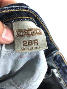 Big Star Jeans Mia Boot Cut Dark Stretch Distressed Womens 26 R Actual 27 x 33 - Preowned - FunkyCrap Boutique