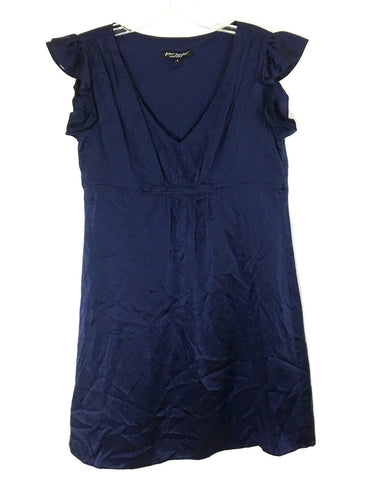 Betsey Johnson Silk Little Blue Dress Pleated V Neck Flutter Ruched Womens 4 - Preowned - FunkyCrap Boutique