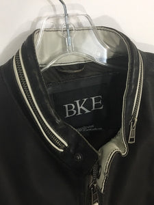 BKE Buckle Dark Brown Pleather Faux Leather Motorcycle Jacket Moto Cafe Men's Large - Preowned - FunkyCrap Boutique