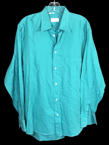 Borghese Blue Green Button Down Shirt Made Italy One Pocket Mens Size 16.5 42 - Preowned - FunkyCrap Boutique