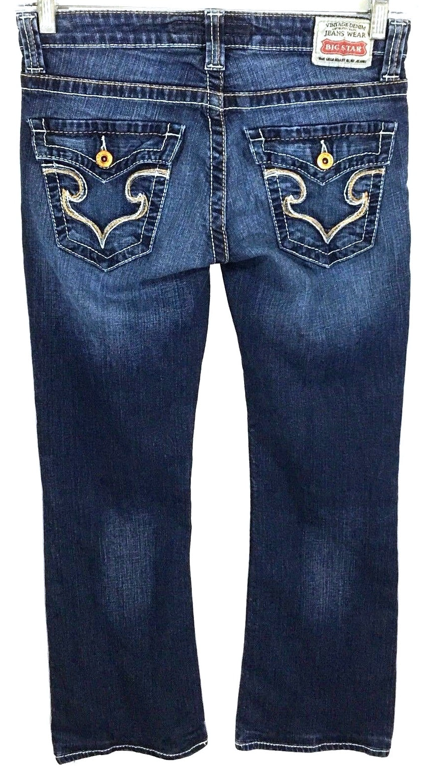 Big Star Remy Low Rise Boot Jeans Dark Wash Back Flaps Pockets Womens 27 R 27R - Preowned - FunkyCrap Boutique