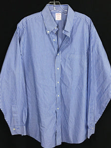 Brooks Brothers Blue White Striped Traditional Fit Non Iron Button Shirt Mens 16 - Preowned - FunkyCrap Boutique