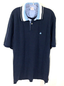 Brooks Brothers Original Fit Sewn Logo Blue Polo Contrast Collar Shirt Mens XL - Preowned - FunkyCrap Boutique