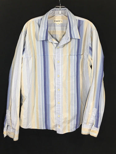 BKE 67 Buckle Button Down Striped Blue Yellow White Tan Shirt Cotton Mens XL - Preowned - FunkyCrap Boutique