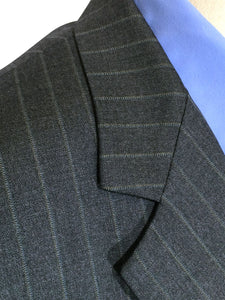 Brooks Brothers Ing Loro Piana Italy Pinstriped Charcoal Blazer Suit Jacket 40 L - Preowned - FunkyCrap Boutique