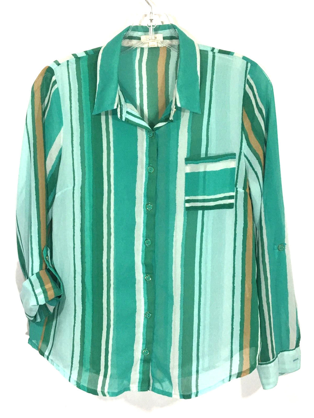 Anthropologie E Hanger M Button Down Green Striped Sheer Shirt Womens Small S - Preowned - FunkyCrap Boutique