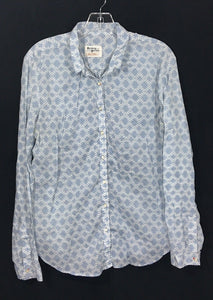 Anthropologie Holding Horses Button Shirt Aztec Tribal White Blue Womens 12 -Preowned - FunkyCrap Boutique