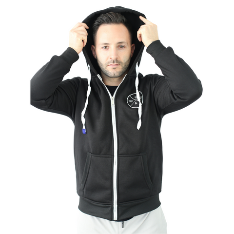 'Coat of Arms' Zip Up Hoody - Black