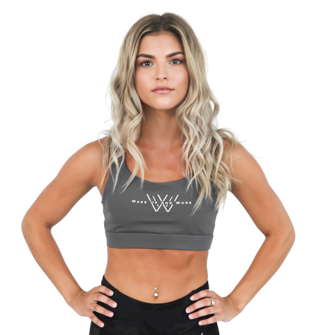 Cross-Back Sports Bra - Dark Grey