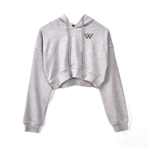 Fitted Crop Hoody - Grey