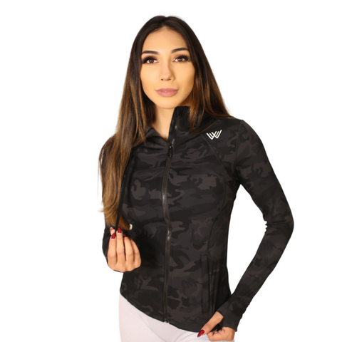 Flex Compression Zip Up Hoody - Black Camo