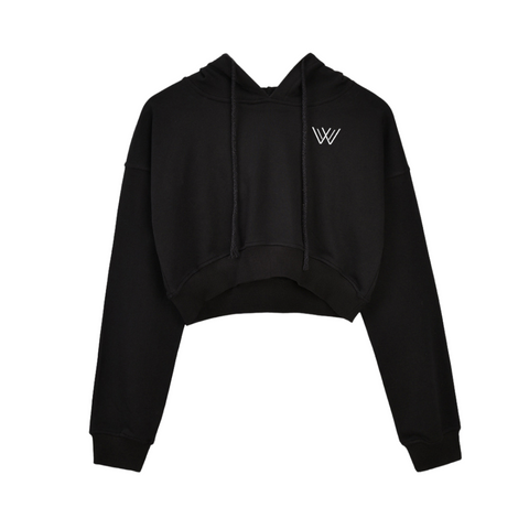Fitted Crop Hoody - Black