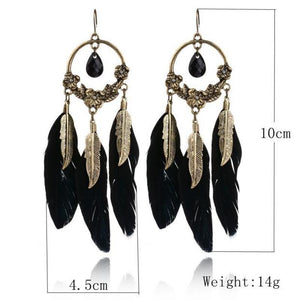 1 Pair Women's Vintage Feather Long Drop Earrings