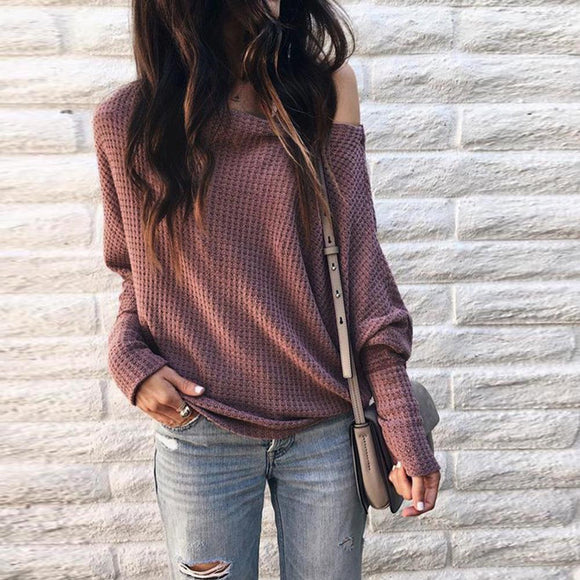 Women's Casual off Shoulder Long Sleeve Knit Sweater