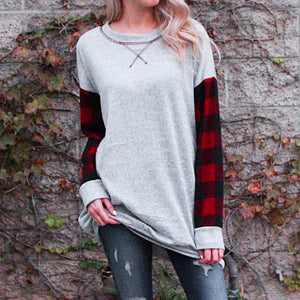 Plaid Patchwork - Loose Long Sleeve Pullover