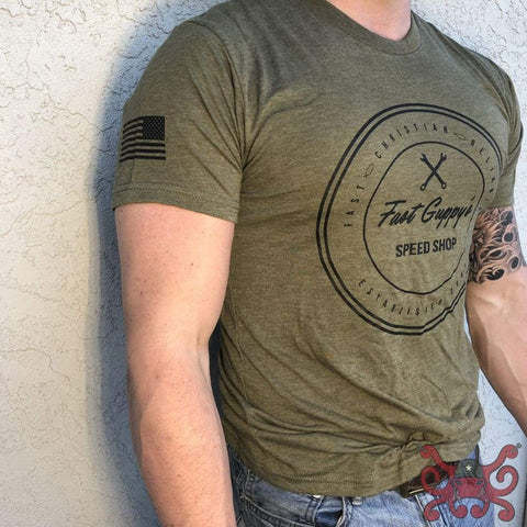 Classic Crew S / Olive-drab with black ink Shirt