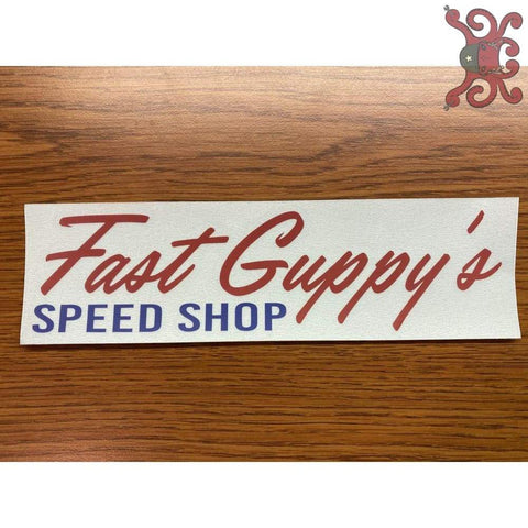 Fast Guppys Red & Blue Window Sticker
