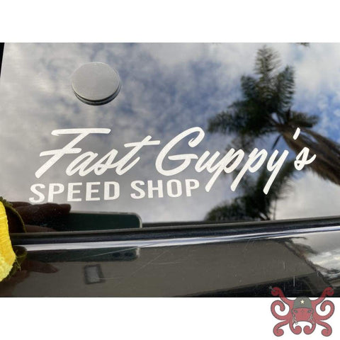 Fast Guppys White Reflective Window Sticker Decal