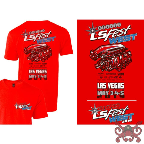 Holley 2019 Youth LS West Main Event Engine Tee - Red #10202-4THOL Apparel
