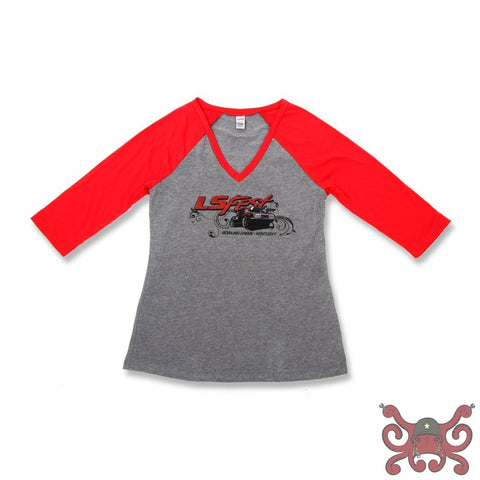 Holley Ladies Red and Gray Baseball Tee #10109-LGHOL Apparel
