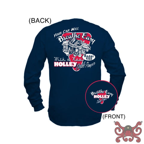 Navy Blue Holley Long Sleeve DP Retro T-Shirt (2X-Large) #10015-XXLHOL Apparel