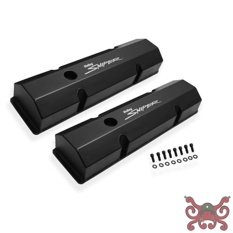 Sniper Fabricated Aluminum Valve Cover - Chevy Small Block - Black Finish #890010B Valve Covers