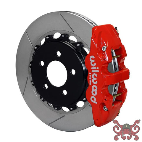 Wilwood AERO4 Big Brake Rear Brake Kit For OE Parking Brake Slotted / Red Brake Kit