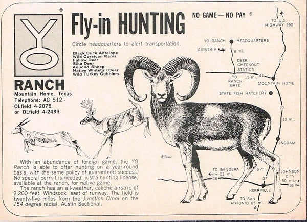 "An old advert for ""fly-in hunters"" from the Y.O. Ranch."