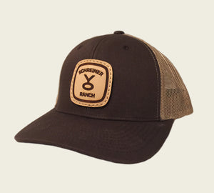 Leather Patched Meshback Hat - Dark Brown