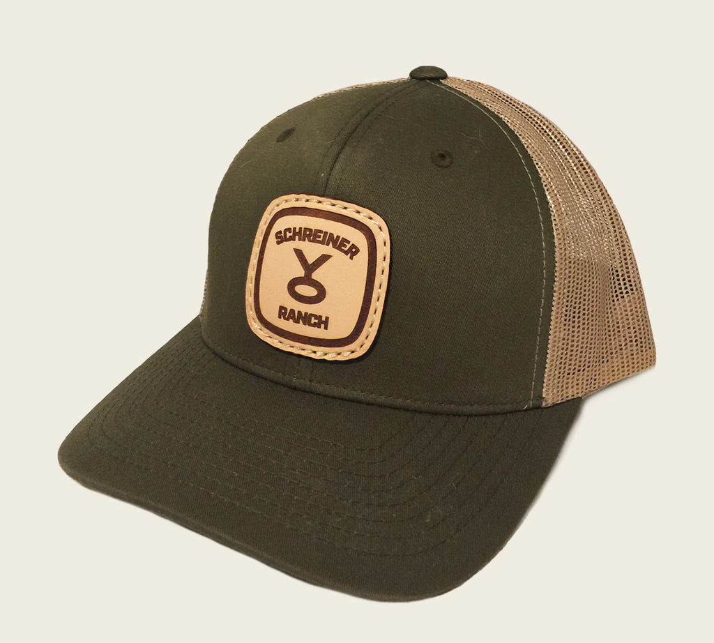 Leather Patched Meshback Hat - Hunter Green